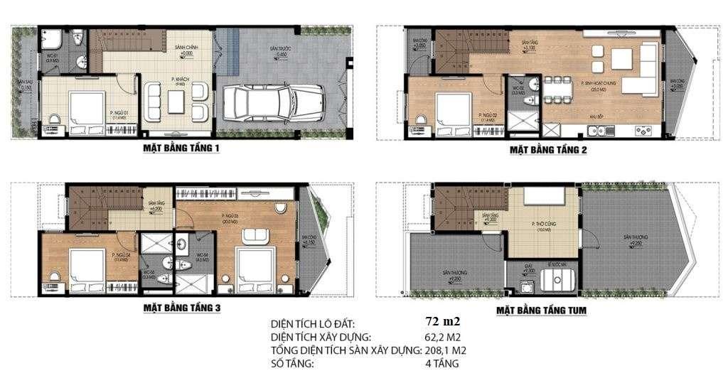 Thiết kế liền kề loại 72 m2 dự án Nam 32