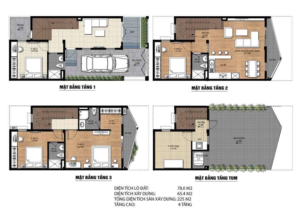 Thiết kế liền kề Nam 32 loại 78 m2