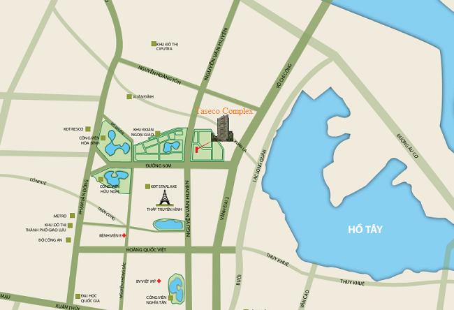 Vị trí dự án N03T2 Ngoại Giao Đoàn Taseco Complex