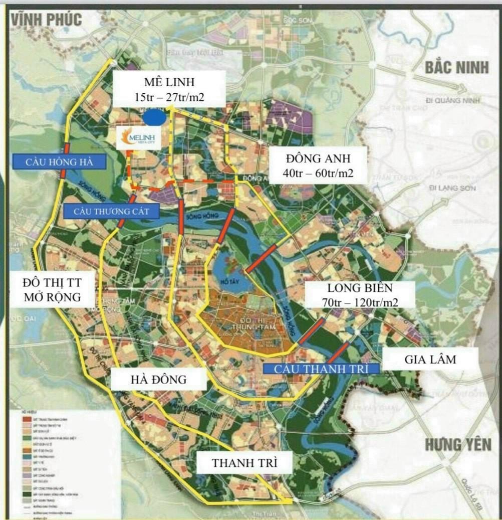 So sánh giá đất khu vực Hà Nội