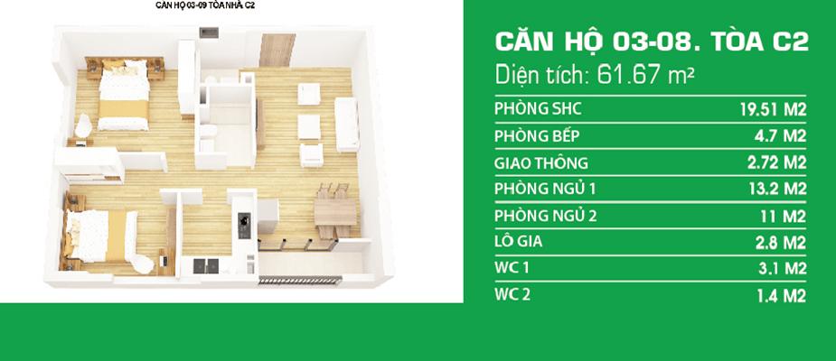thiết kế căn hộ c1 c2 xuân đỉnh