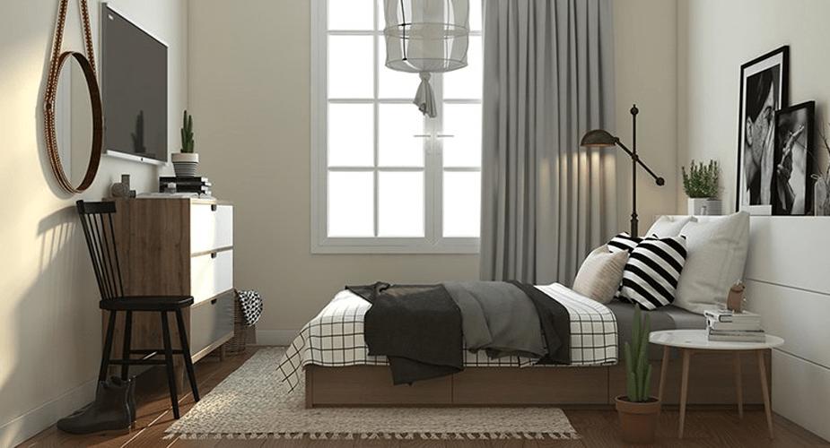 Phòng ngủ nhà mẫu dự án C1 C2 Xuân Đỉnh