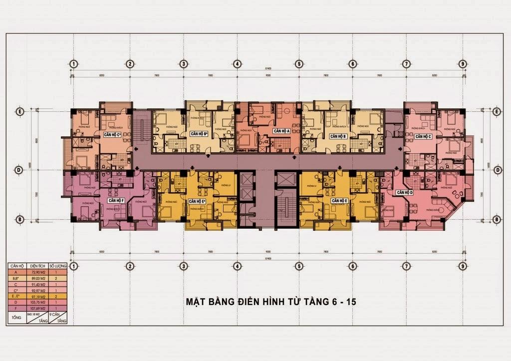 Chung cư 69 Triều Khúc - Mặt bằng điển hình tầng 5-15