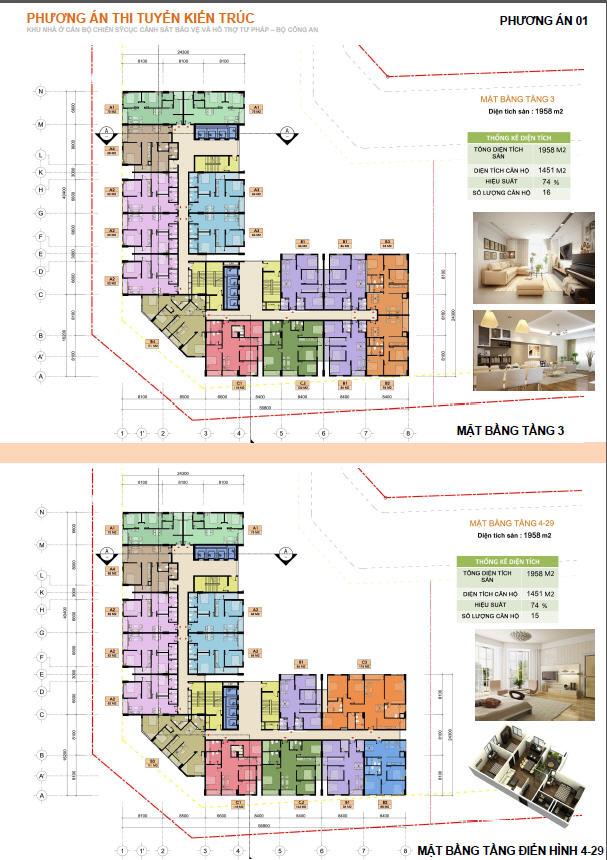 Thiết kế chi tiết căn hộ C22 Bộ Công An