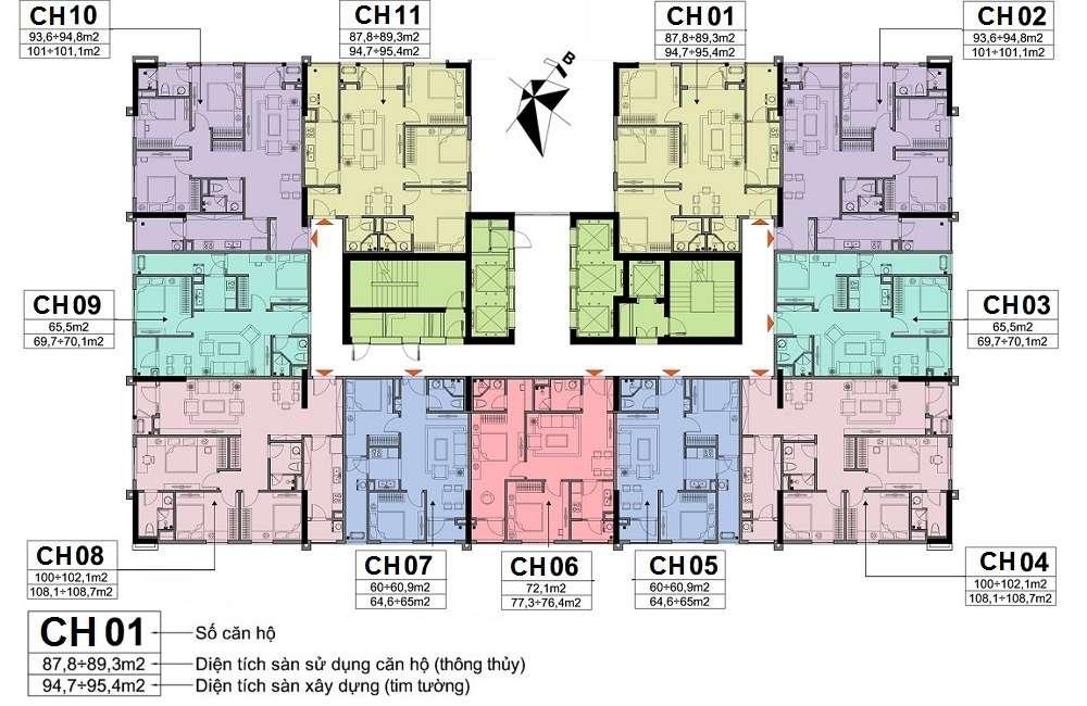 Mặt bằng thiết kế chung cư A10 nam Trung Yên