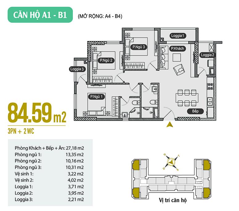 Căn hộ A1 - B1 diện tích 84.59 m2