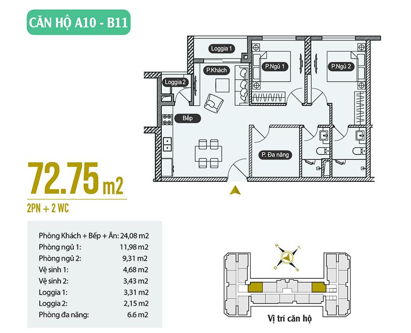 Căn hộ A10 - B11 diện tích 72.75m2
