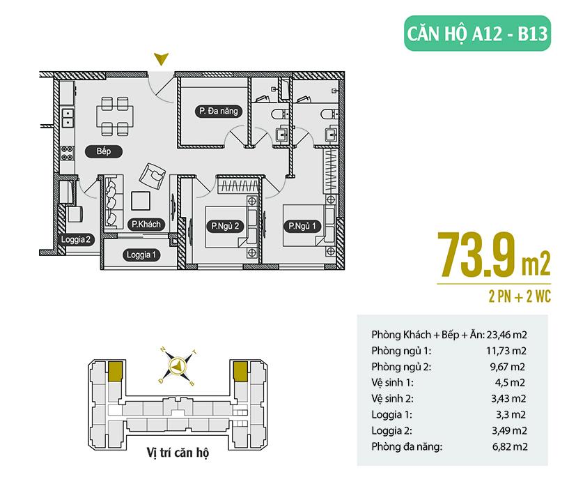 Căn hộ A12 - B13 diện tích 73.9m2