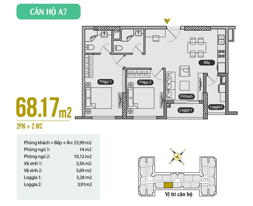 Căn hộ A7 diện tích 68.17 m2