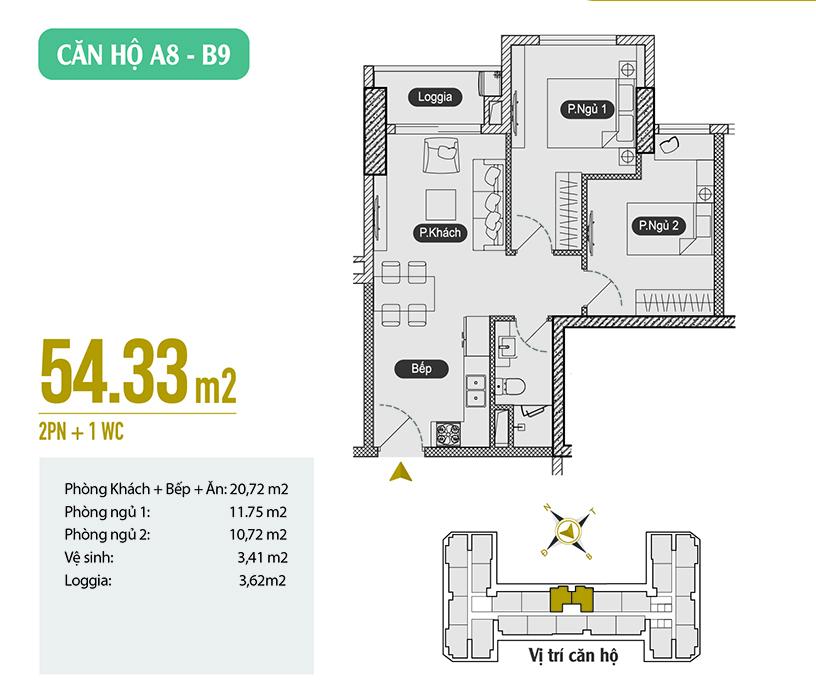 Căn hộ A8 - B9 diện tích 54.33m2 Anland 2