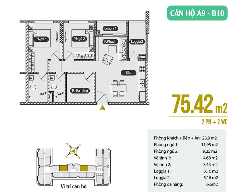 Căn hộ A9 - B10 diện tích 75.42 m2