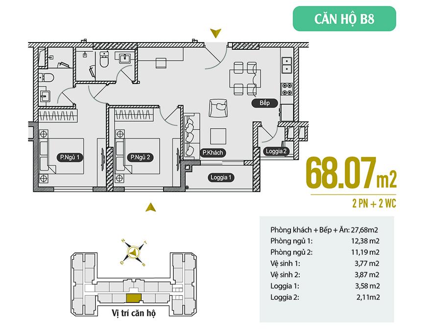 Căn hộ B8 diện tích 68.07 m2