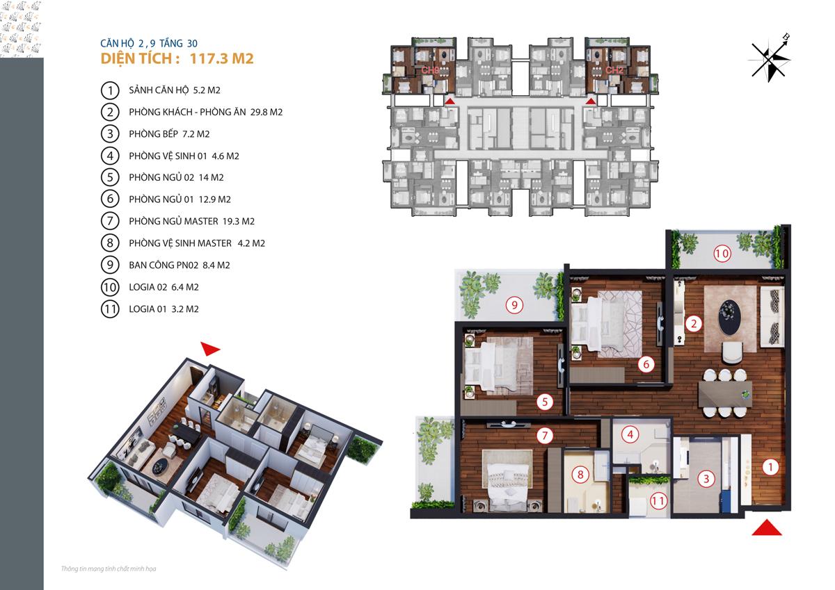 Căn hộ 2, 9 tầng 30 diện tích 117.3 m2