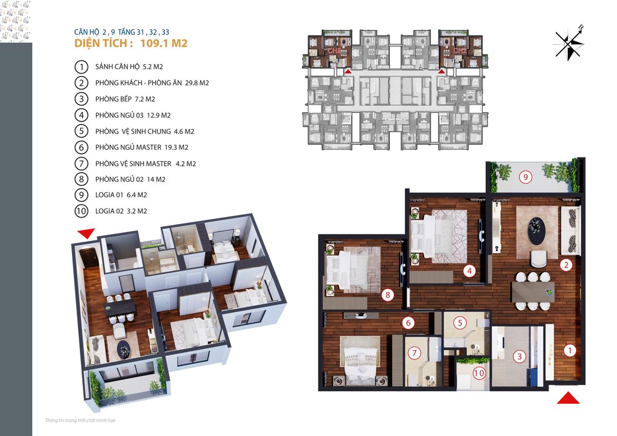 Căn hộ 2, 9 tầng 31, 32, 33 diện tích 109.1 m2