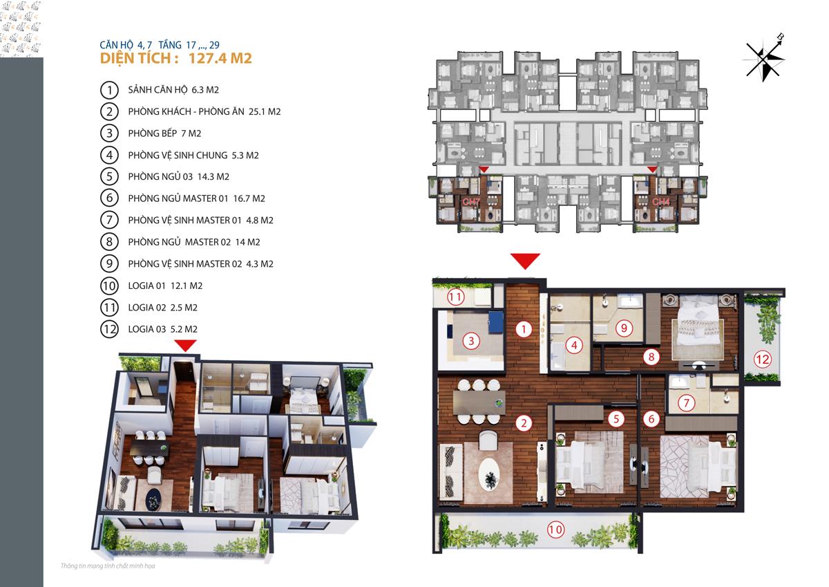 Căn hộ 4, 7 tầng 17 - tầng 29 diện tích 127.4 m2