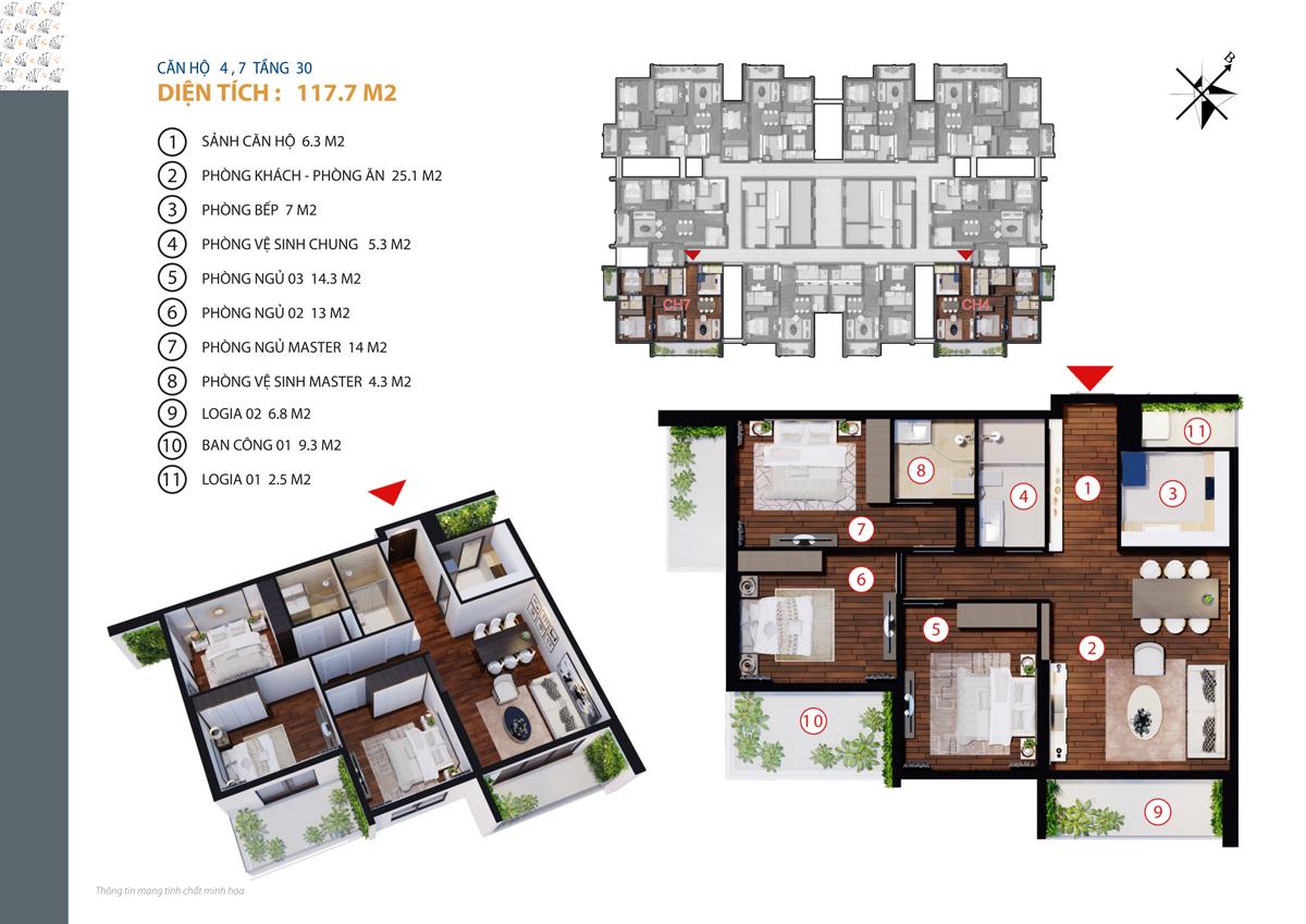 Căn hộ 4, 7 tầng 30 diện tích 117.7 m2 golden land 275 nguyễn trãi