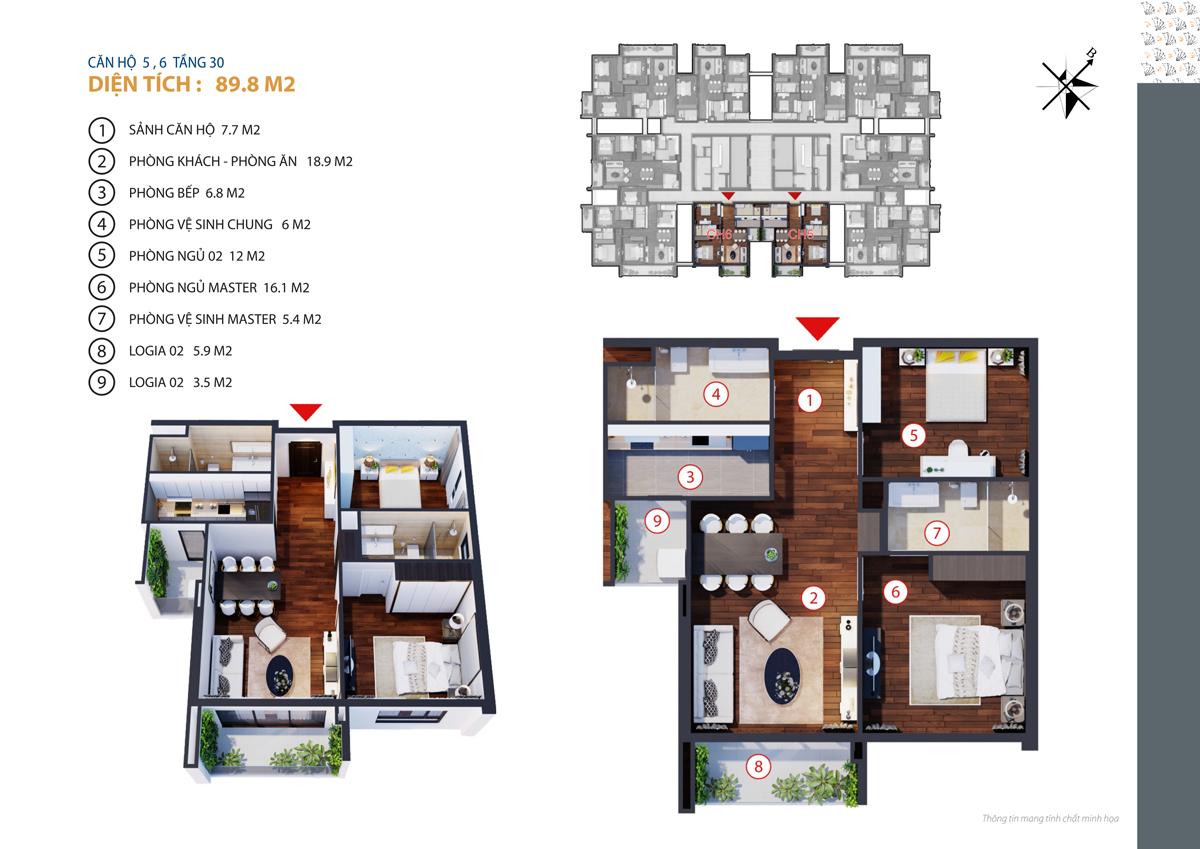 Căn hộ 5, 6 tầng 30 diện tích 89.8 m2