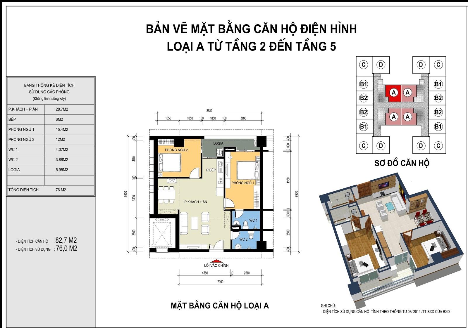 Mặt bằng căn hộ điển hình loại A từ tầng 2 - 15