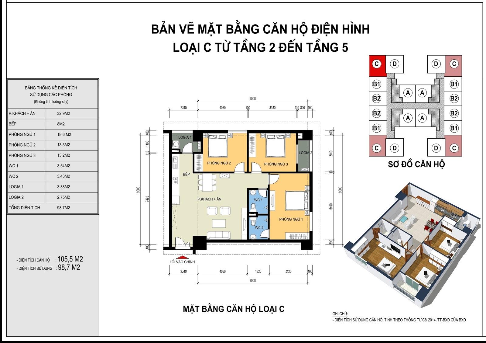 Mặt bằng căn hộ điển hình loại C từ tầng 2 - 15