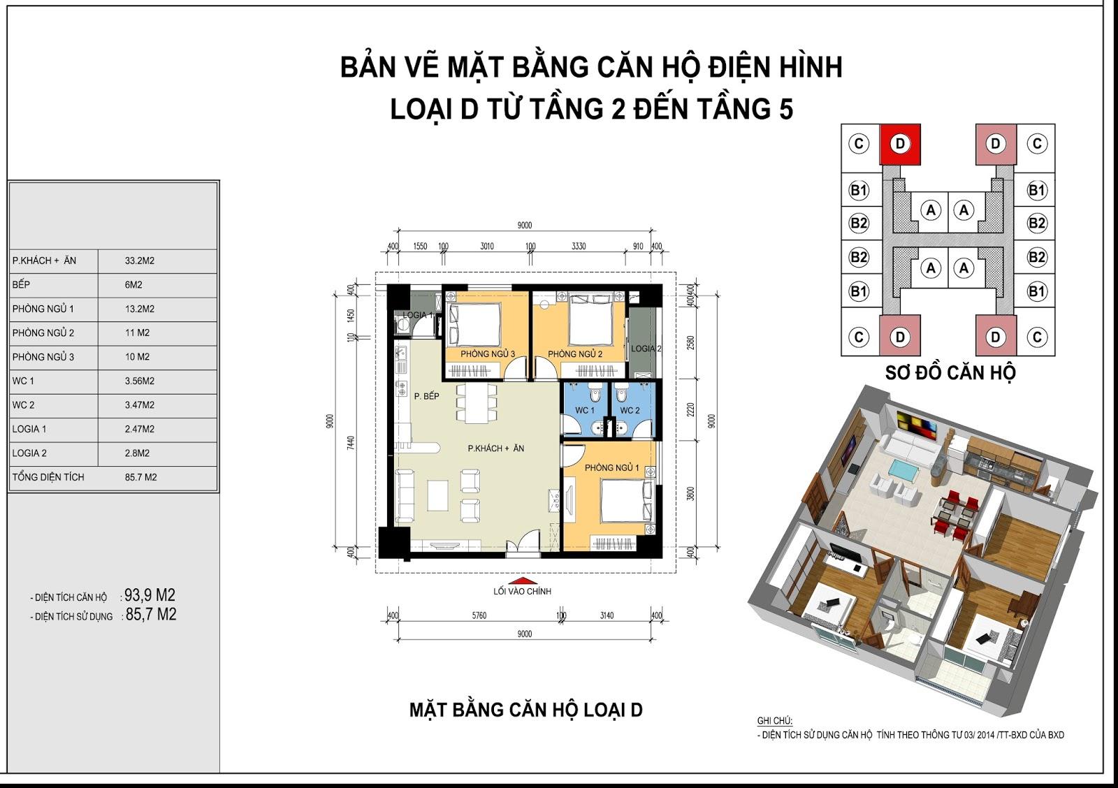 Mặt bằng căn hộ điển hình loại B từ tầng 2 - 15