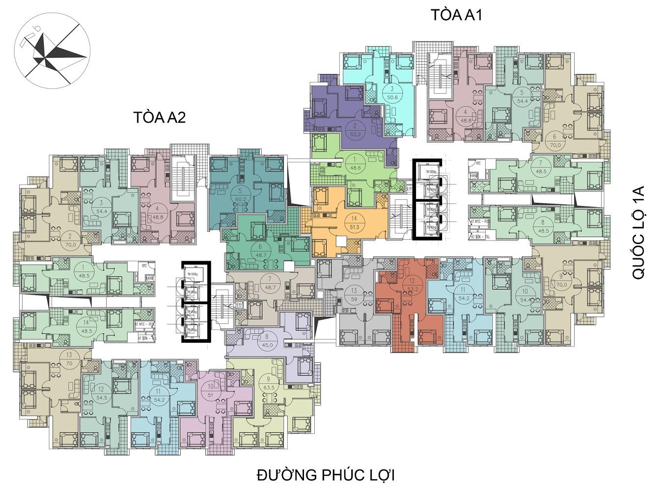 Mặt bằng căn hộ dự án Tòa A1 - A2