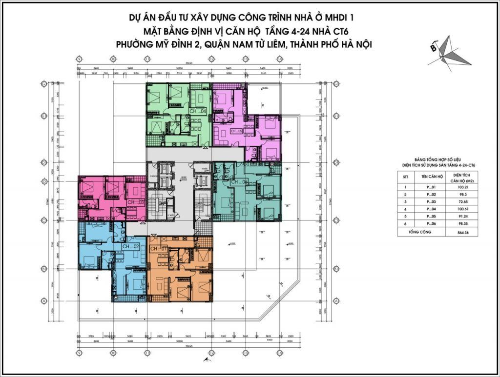 Mặt bằng tầng 4-24 tòa CT6