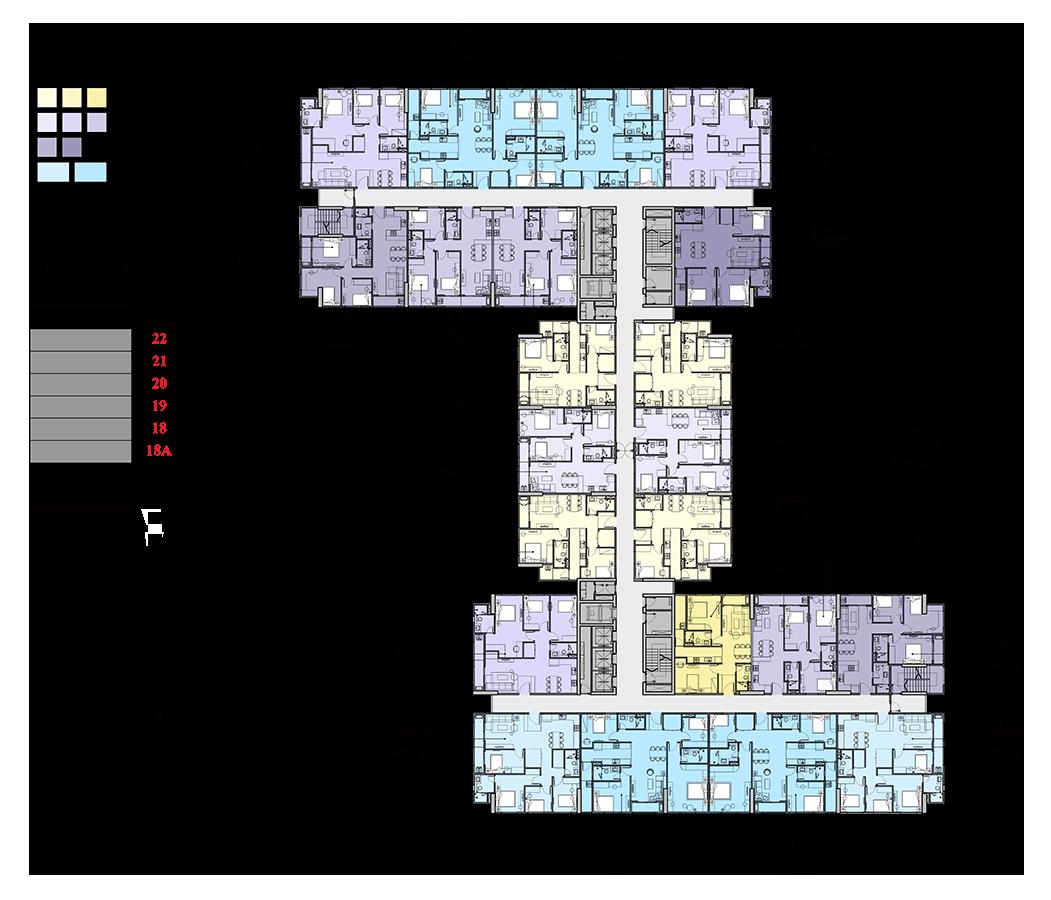 Mặt bằng điển hình căn hộ tầng 18A-22
