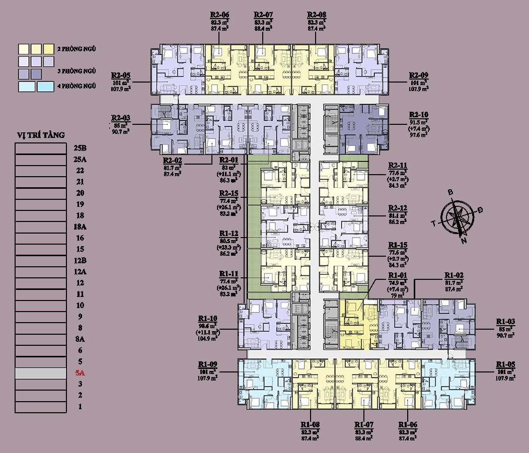 Mặt bằng căn hộ điển hình tầng 5 đến tầng 16
