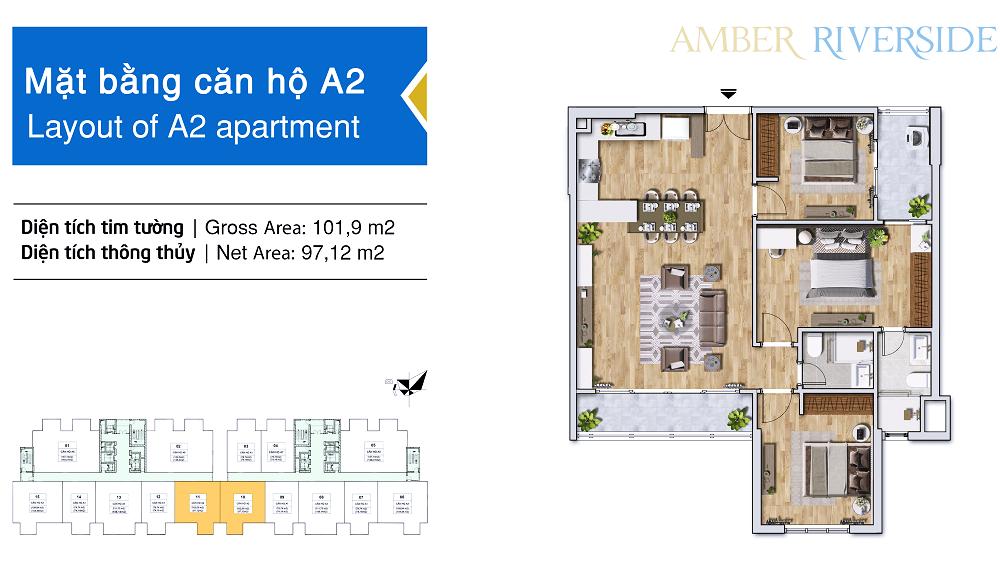 Diện tích căn hộ 3 phòng ngủ: 97,12m2