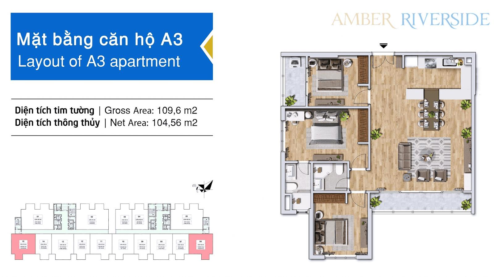 Diện tích căn hộ 3 phòng ngủ: 104,56m2.