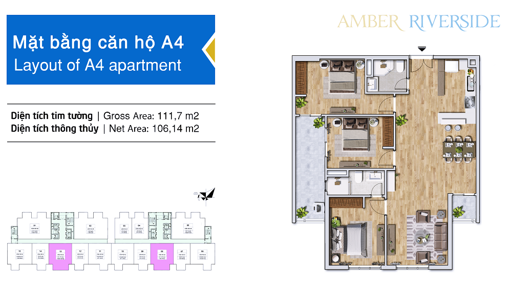 Diện tích căn hộ 3 phòng ngủ: 106,14m2.