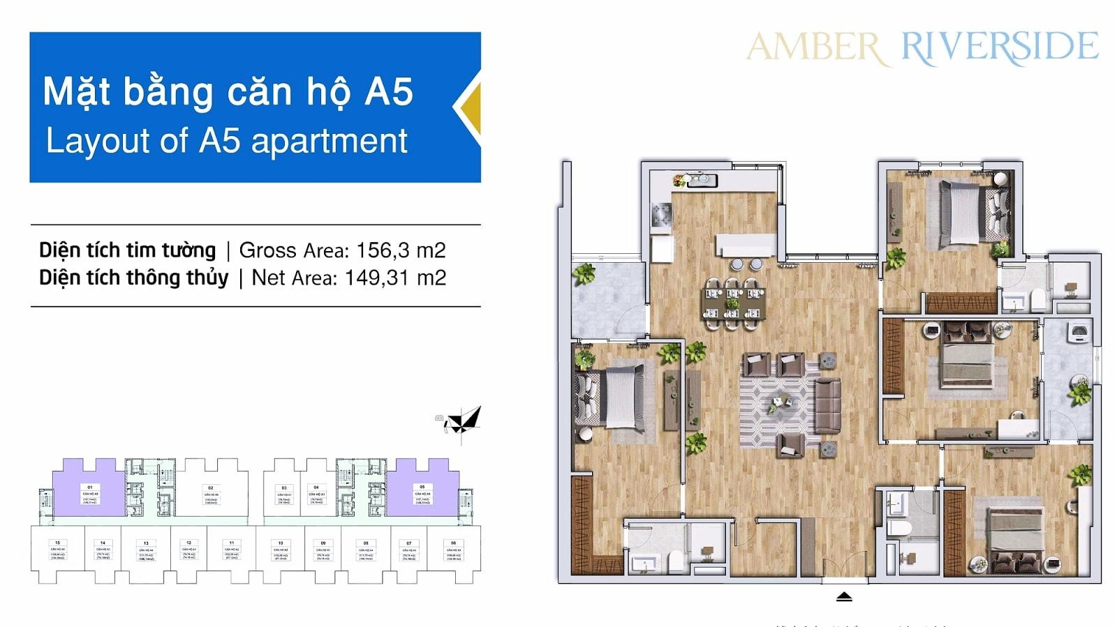 Diện tích căn hộ 4 phòng ngủ: 149,31m2