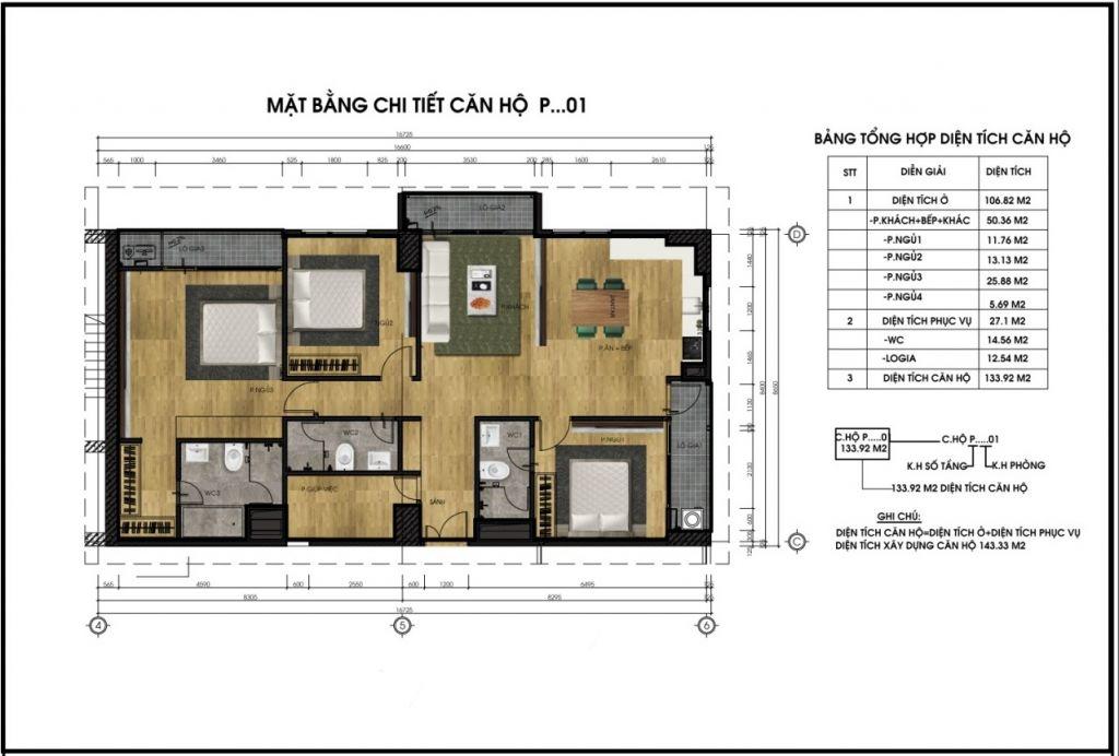 Mặt bằng chi tiết căn hộ P01 - CT5