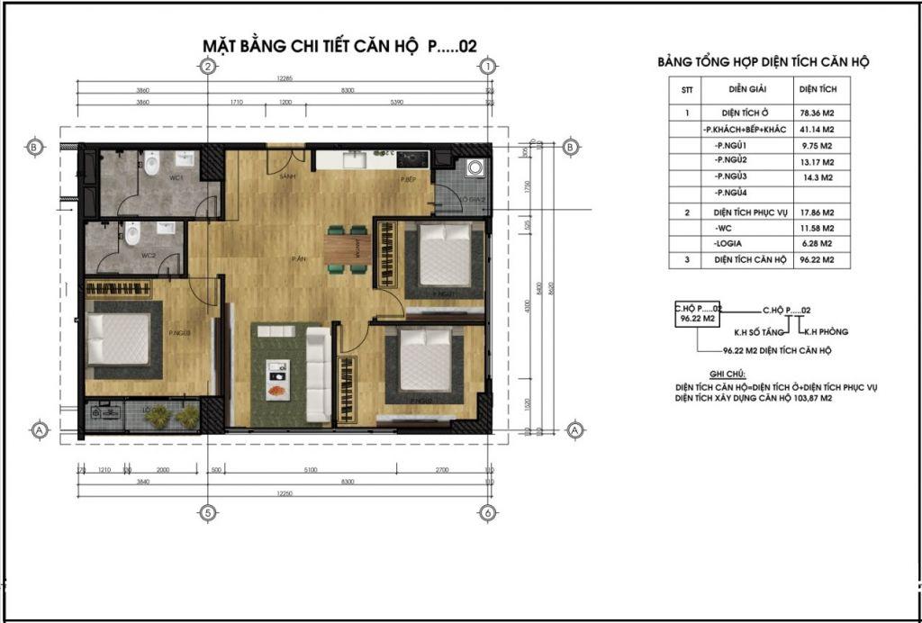 Mặt bằng chi tiết căn hộ P02 - CT5