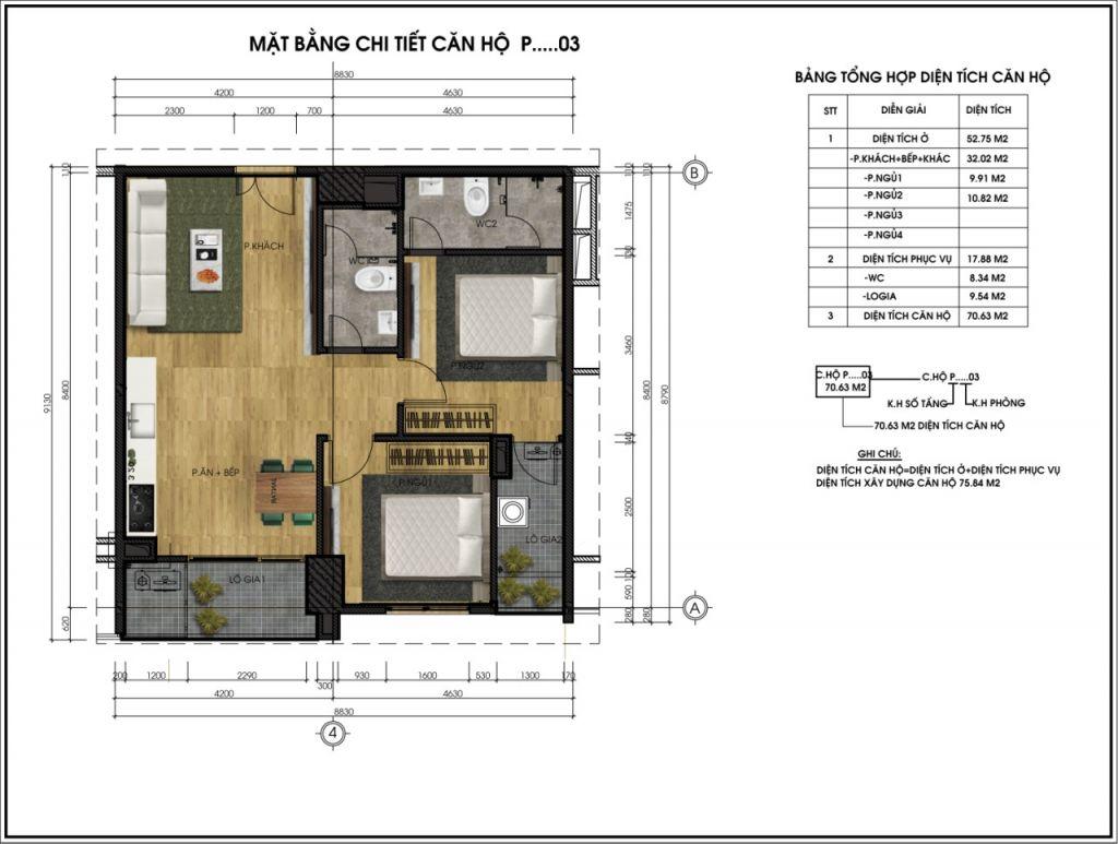 Mặt bằng chi tiết căn hộ P03 - CT5