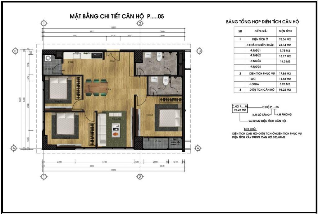 Mặt bằng chi tiết căn hộ P05 - Chung cư CT5 CT6 Lê Đức Thọ