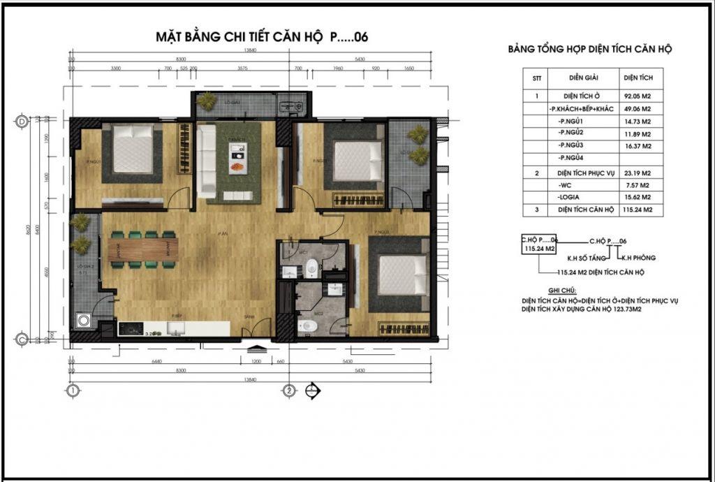 Mặt bằng chi tiết căn hộ P06 - Chung cư CT5