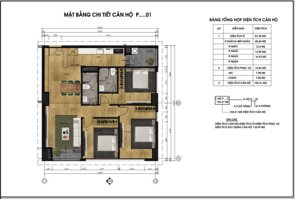 Mặt bằng chi tiết căn hộ P01 - Chung cư CT6