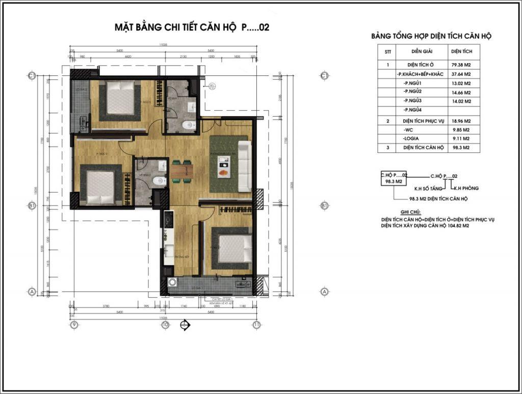 Mặt bằng chi tiết căn hộ P02 - Chung cư CT6
