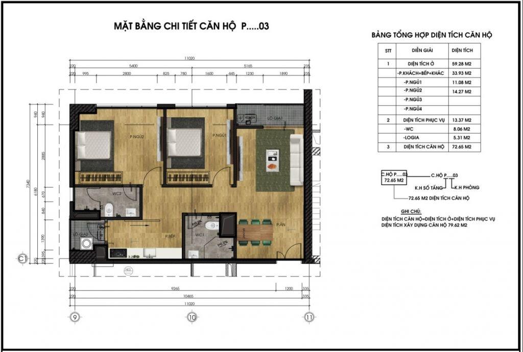 Mặt bằng chi tiết căn hộ P03 - Chung cư CT6