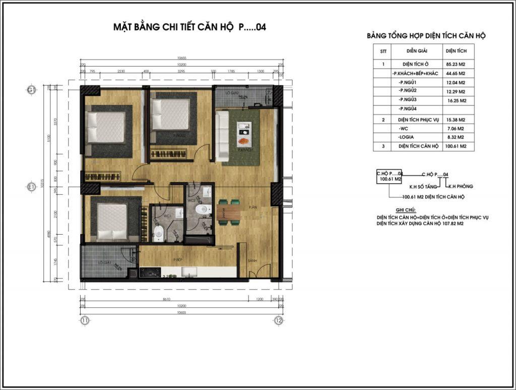 Mặt bằng chi tiết căn hộ P04 - Chung cư CT6