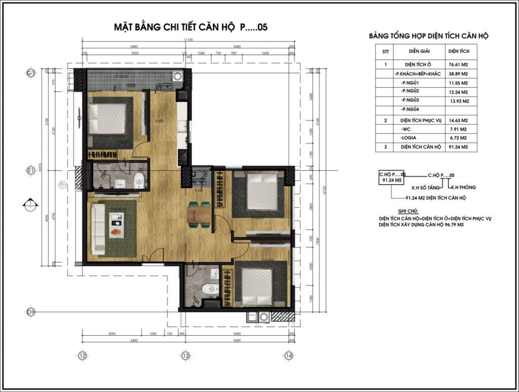 Mặt bằng chi tiết căn hộ P05 - Chung cư CT6