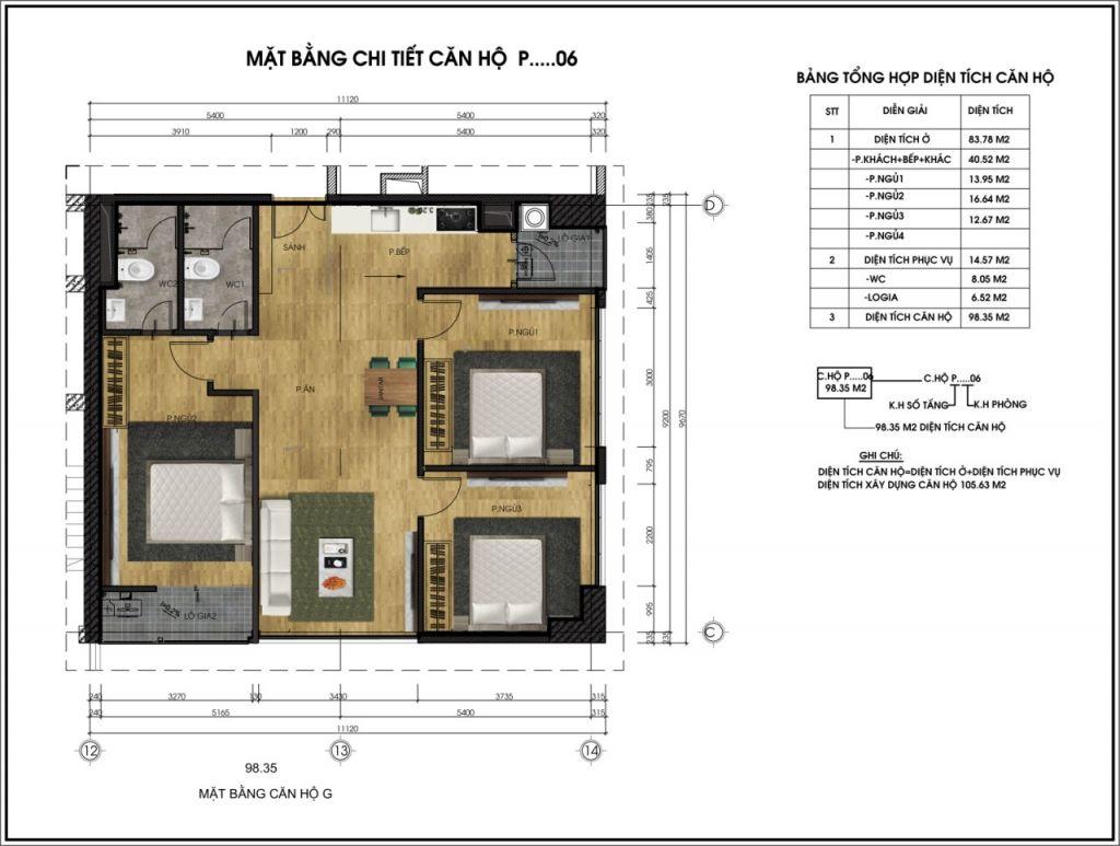 Mặt bằng chi tiết căn hộ P06 - Chung cư CT6
