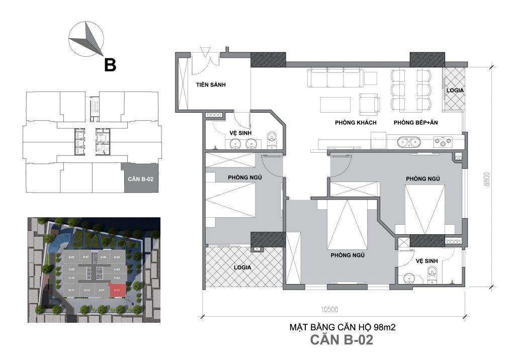 Mặt bằng căn hộ Căn B-02