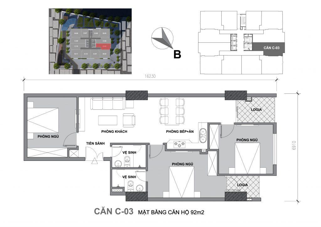 Mặt bằng căn hộ Căn C-03