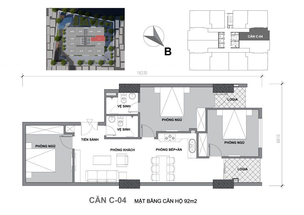Mặt bằng căn hộ Căn C-04