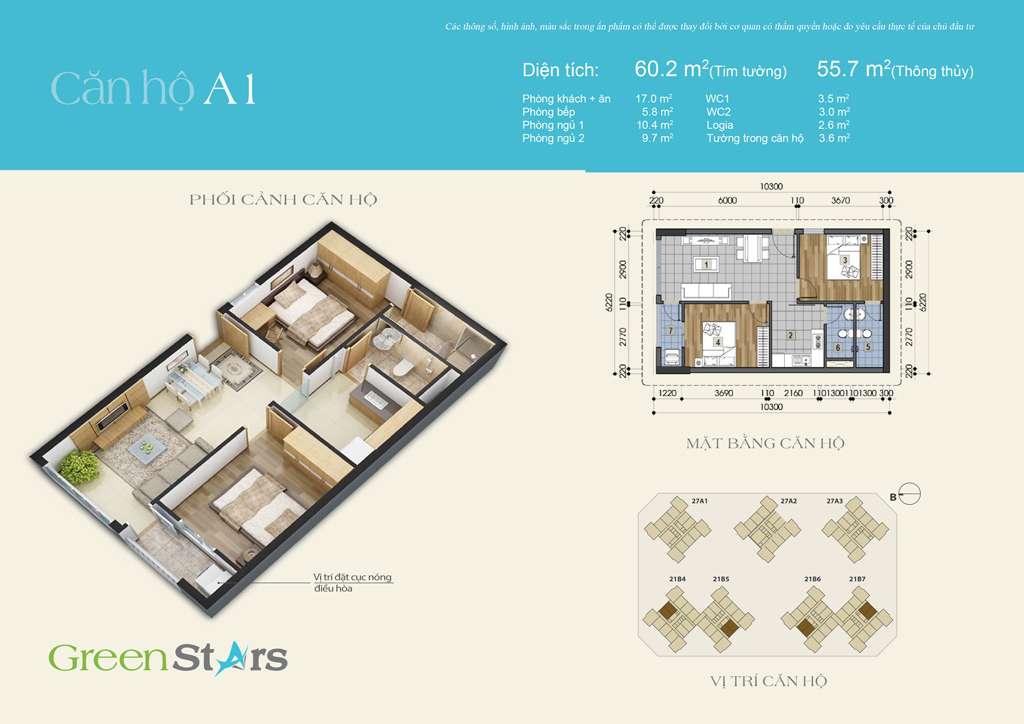 Thiết kế căn hộ A1 56 m2
