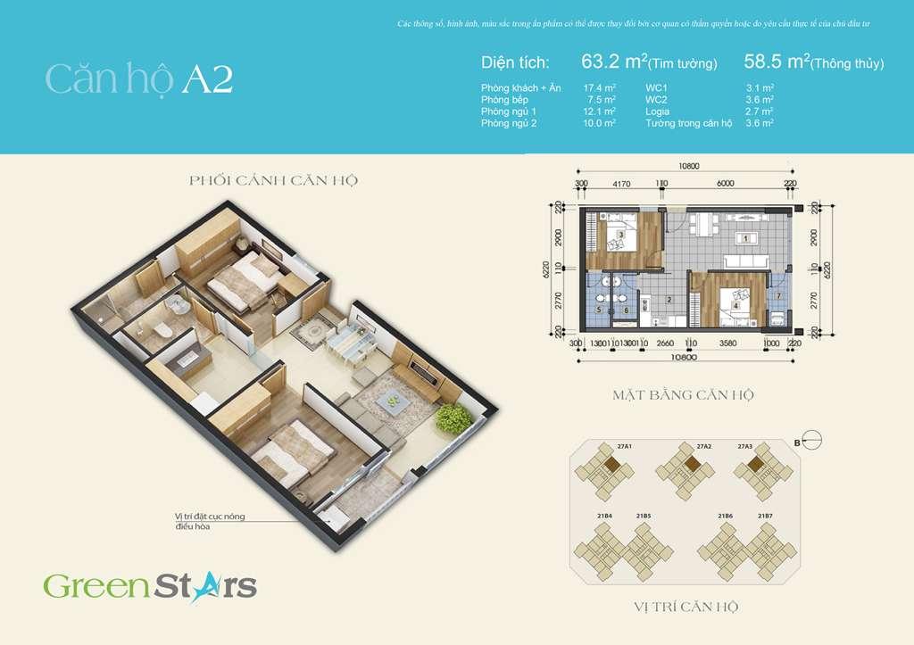 Thiết kế căn hộ A2 59 m2