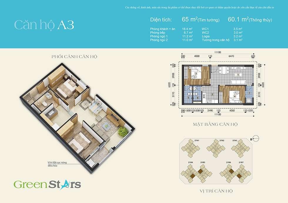 Thiết kế căn A3 60 m2