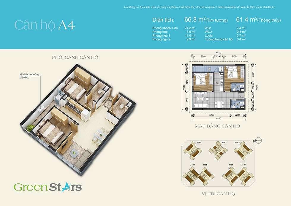 Thiết kế căn hộ A4 61 m2